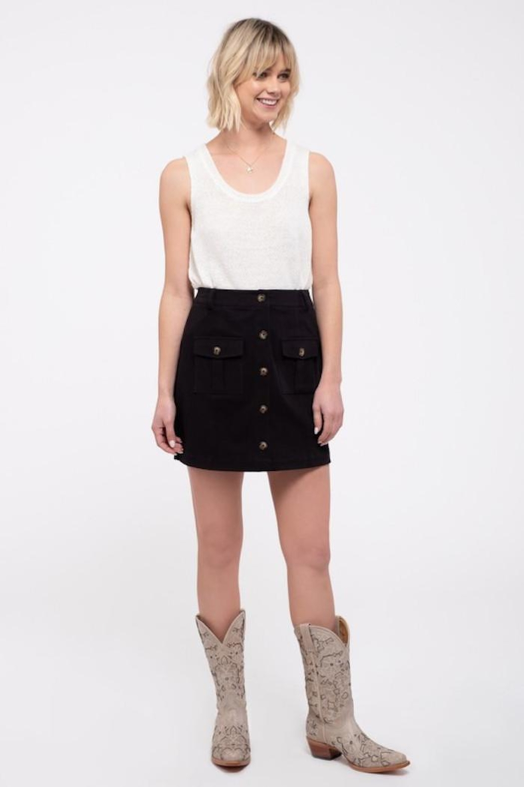 Blu Pepper Button Front Skirt - Front Cropped Image