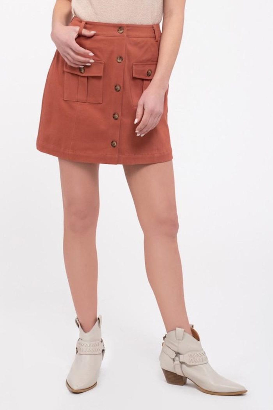 Blu Pepper Button Front Skirt - Front Full Image