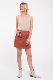 Blu Pepper Button Front Skirt - Front cropped