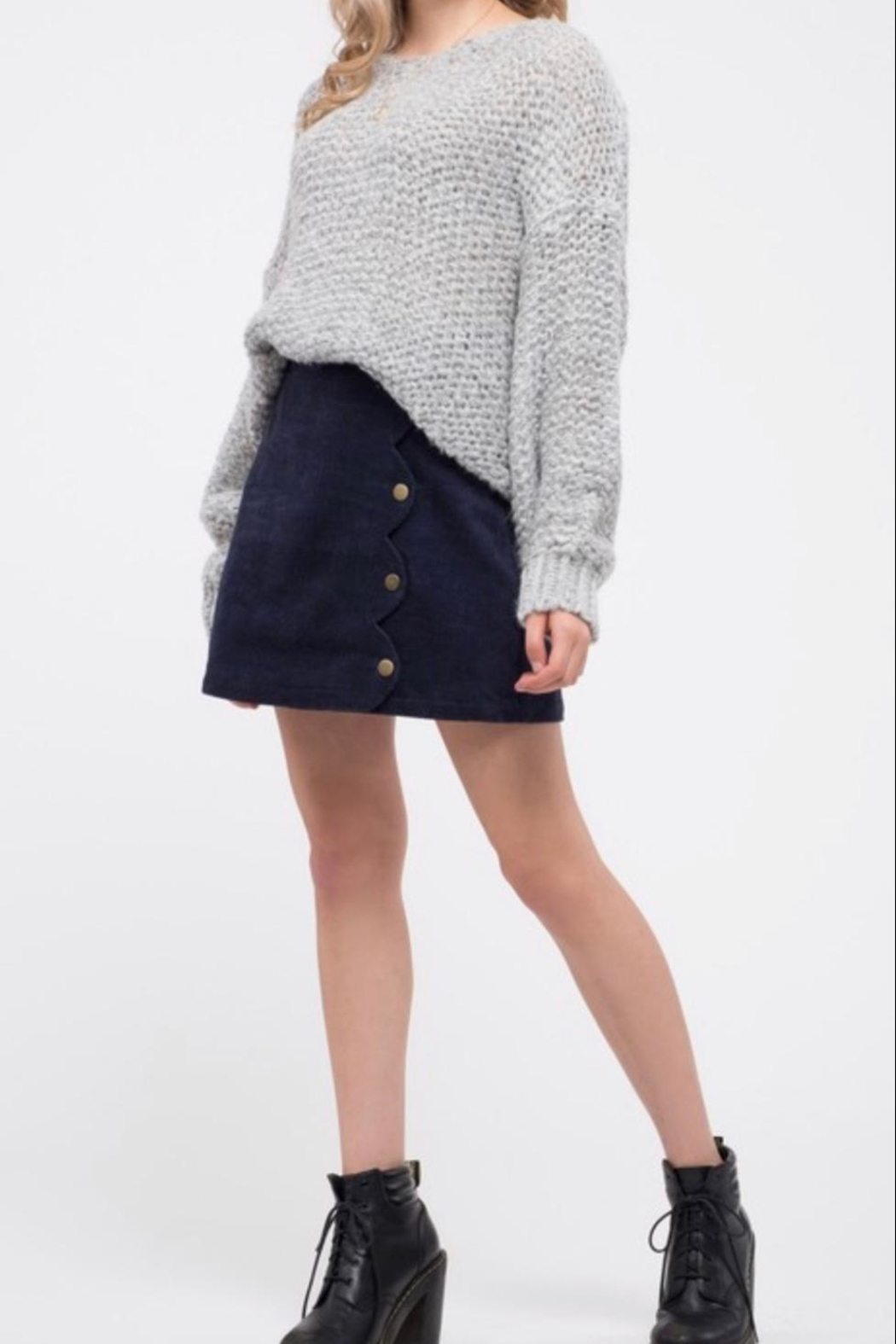 Blu Pepper Chunky Knit Sweater - Back Cropped Image