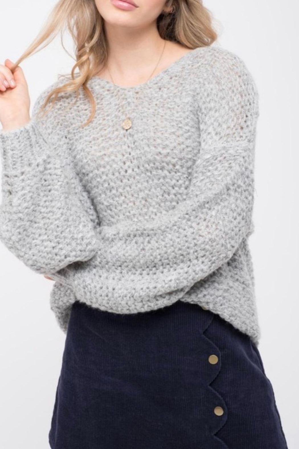 Blu Pepper Chunky Knit Sweater - Side Cropped Image