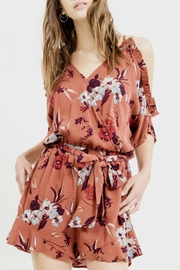 Blu Pepper Cold Shoulder Floral Romper - Product Mini Image