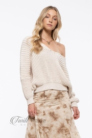 Blu Pepper Cream Slouchy Knit - Front cropped