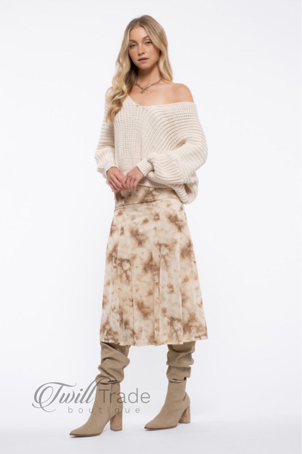 Blu Pepper Cream Slouchy Knit - Front Full Image
