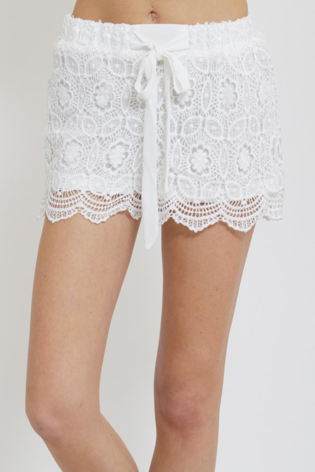 Blu Pepper Crochet Shorts - Front Cropped Image