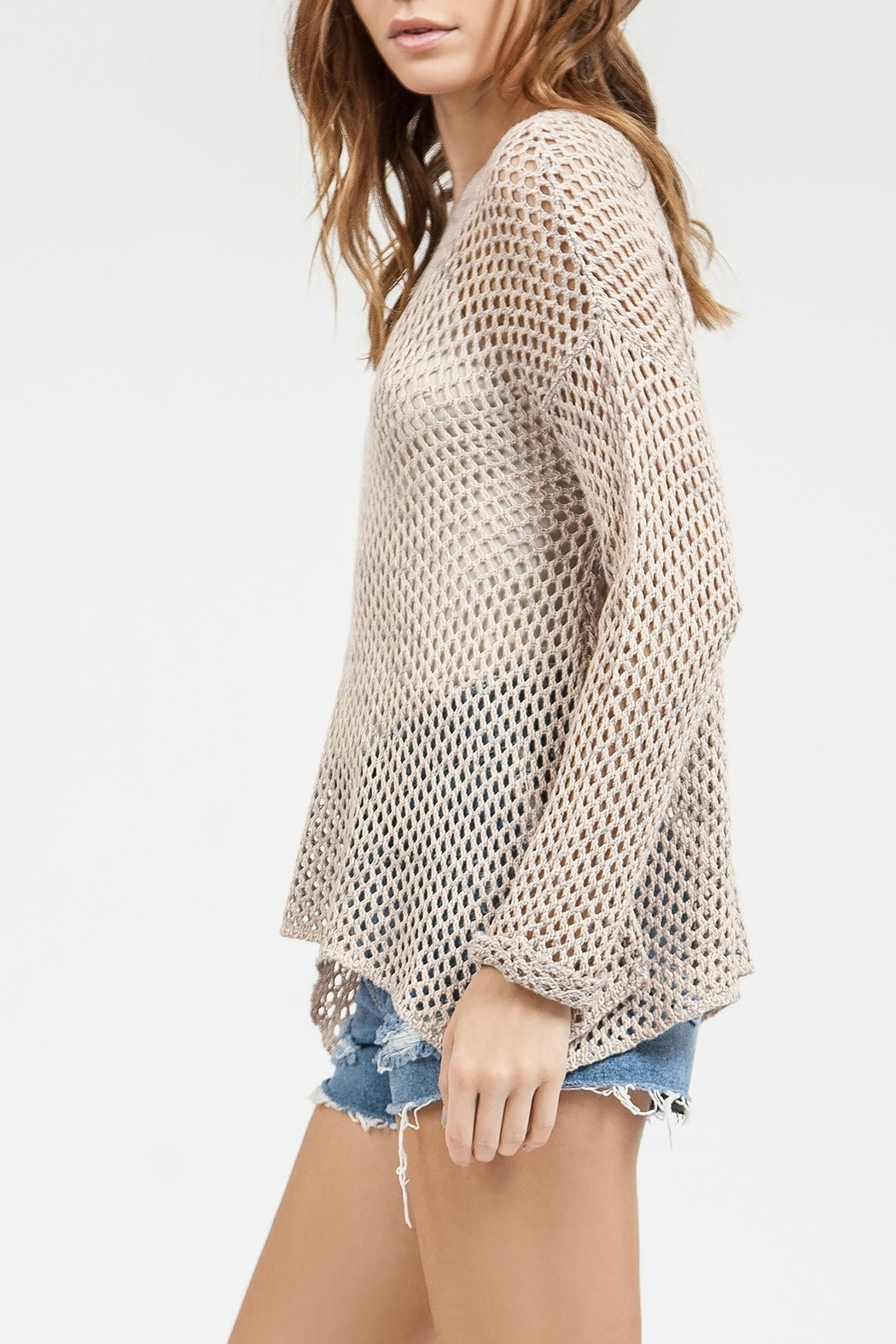 Blu Pepper Crochet Sweater Top - Front Cropped Image