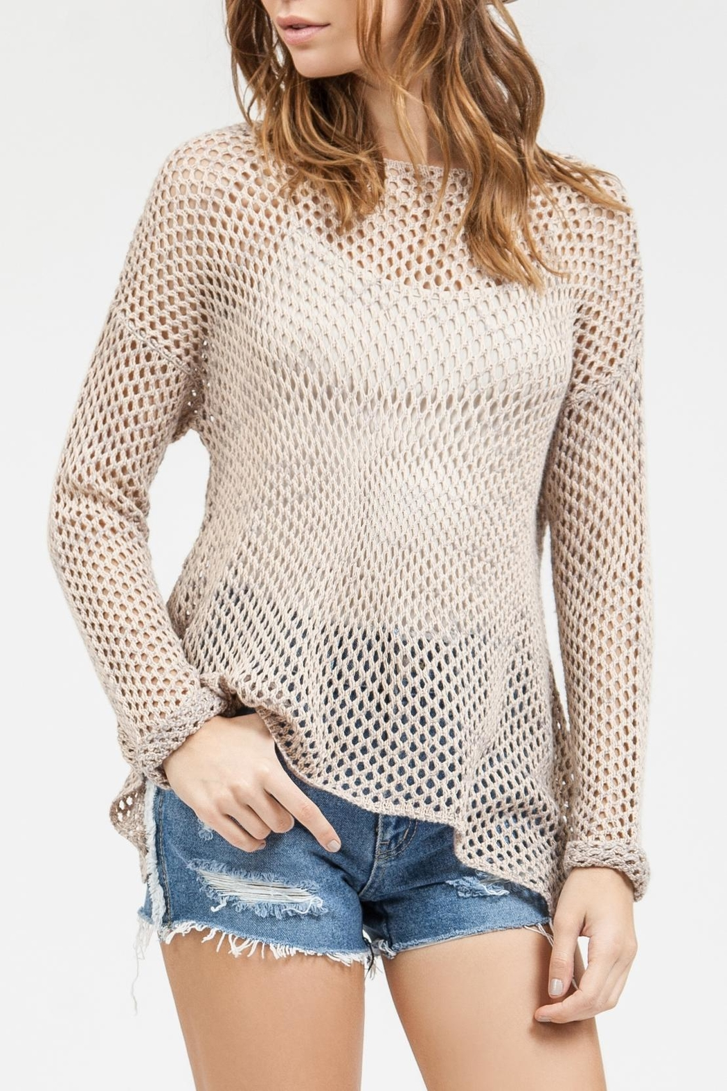 Blu Pepper Crochet Sweater Top - Front Full Image