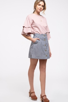 Blu Pepper Denim Striped-Scallop Skirt - Product List Image