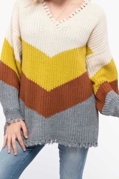 Blu Pepper Distressed Colorblock Sweater - Product List Image