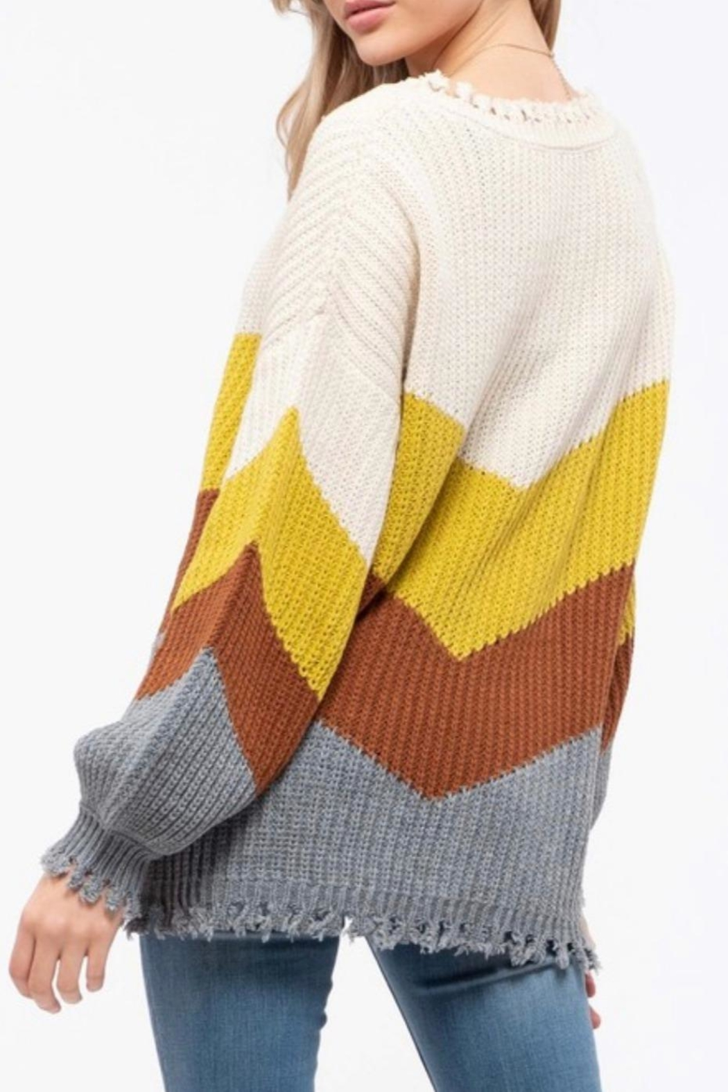 Blu Pepper Distressed Colorblock Sweater - Front Full Image