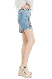 Blu Pepper Emboridery Denim Skirt - Front full body