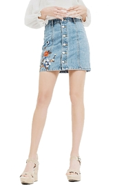 Blu Pepper Emboridery Denim Skirt - Front cropped