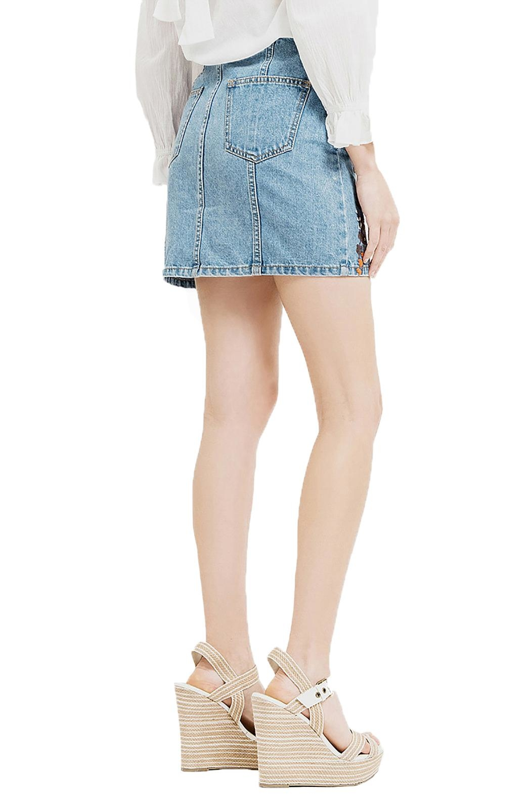 Blu Pepper Emboridery Denim Skirt - Side Cropped Image