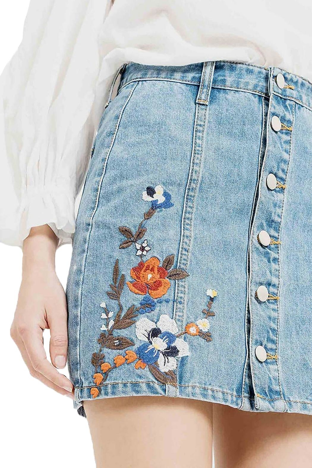 Blu Pepper Emboridery Denim Skirt - Back Cropped Image
