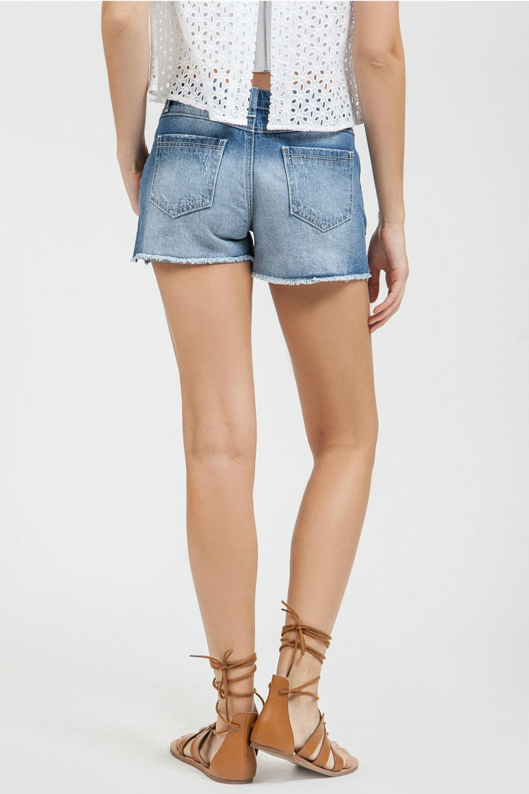 Blu Pepper Embroidered Denim Shorts - Front Full Image