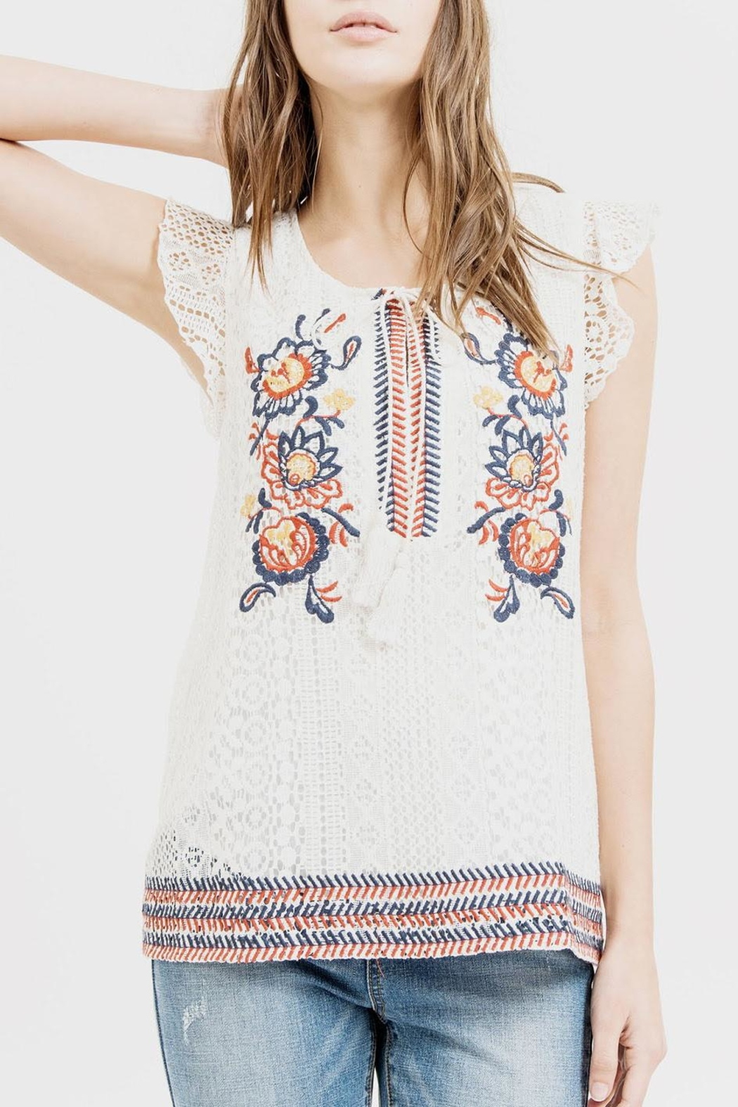 Blu Pepper Embroidered Lace Top - Main Image