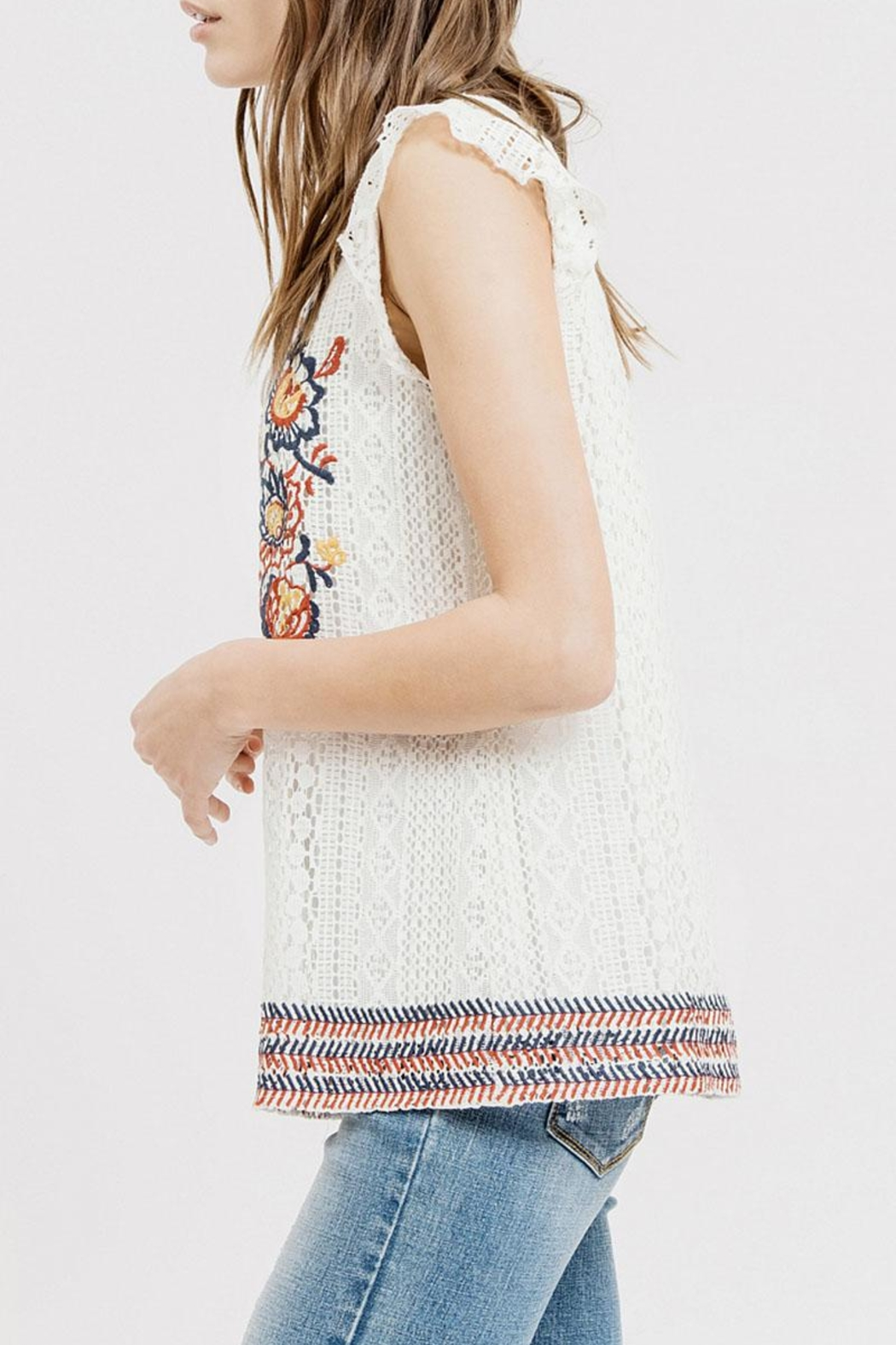 Blu Pepper Embroidered Lace Top - Front Full Image