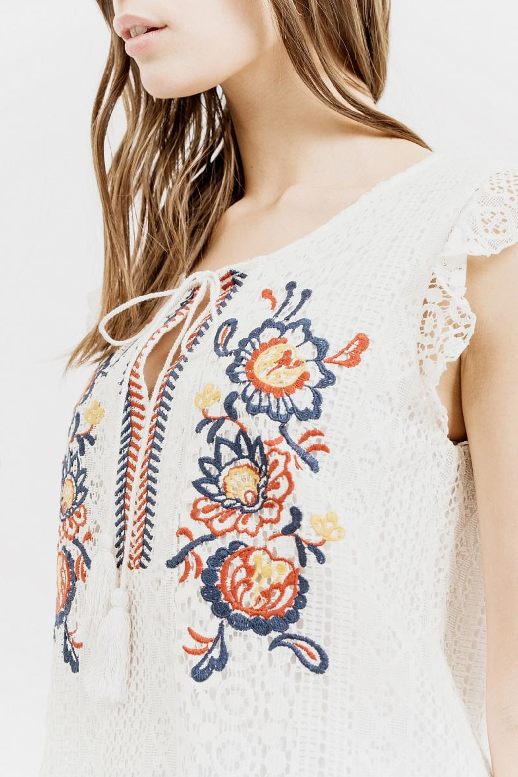 Blu Pepper Embroidered Lace Top - Back Cropped Image
