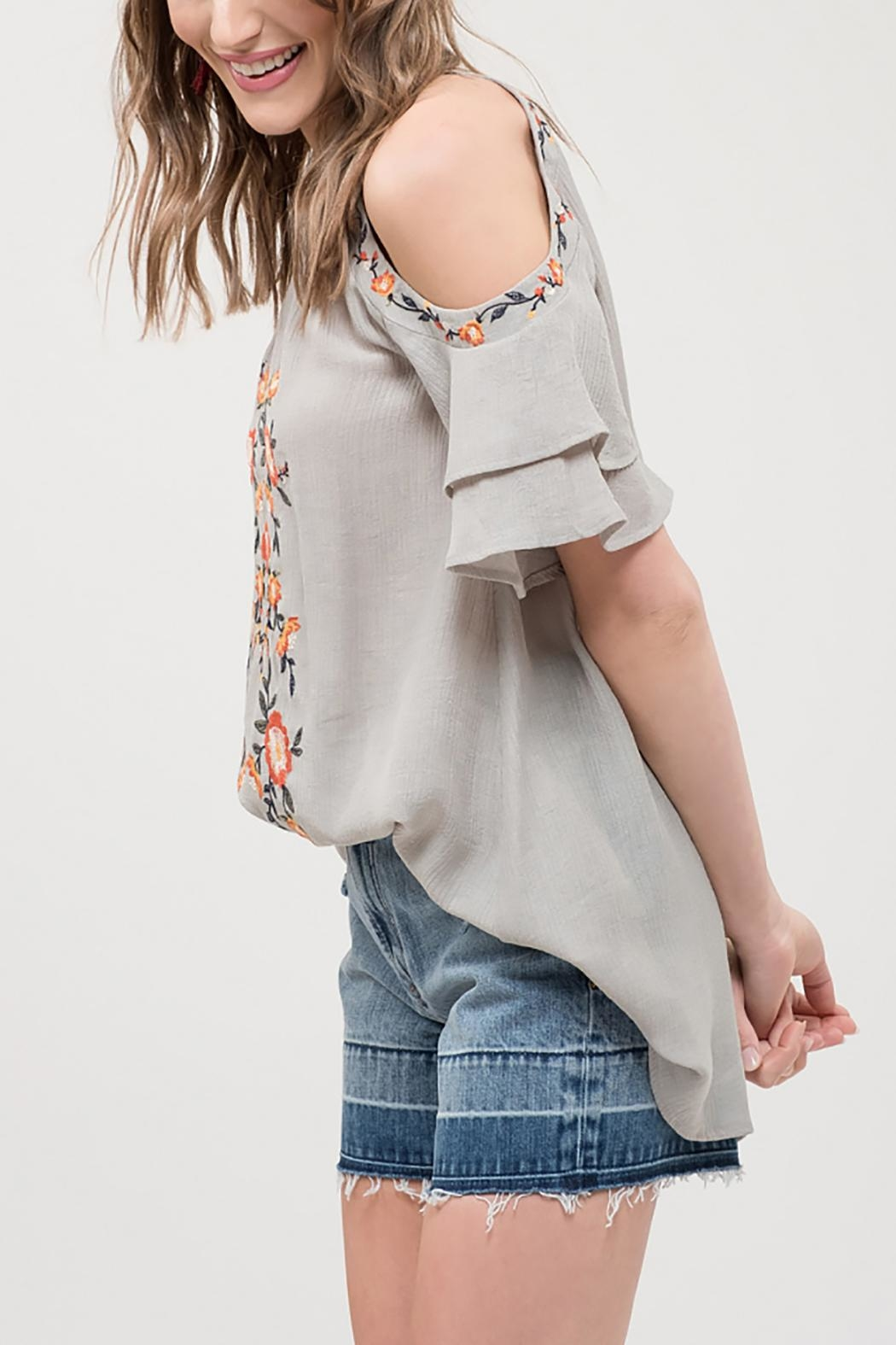 Blu Pepper Embroidered Ruffle Top - Front Full Image