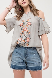 Blu Pepper Embroidered Ruffle Top - Product Mini Image