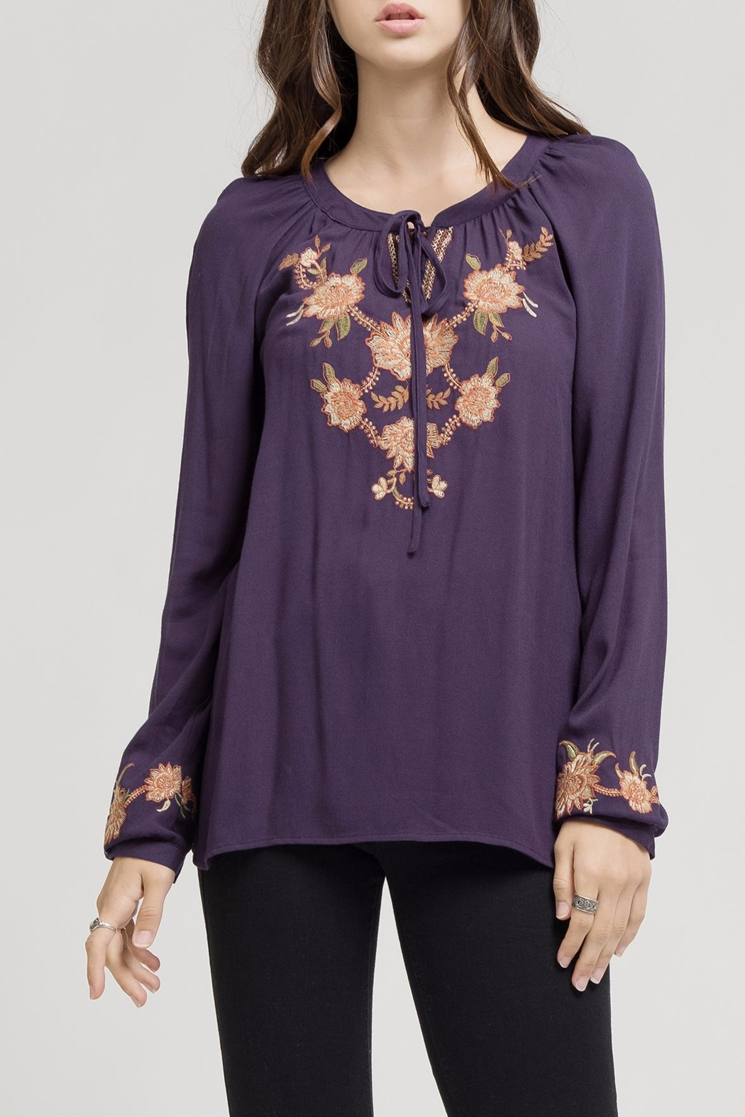 Blu Pepper Embroidered Tie Blouse - Main Image