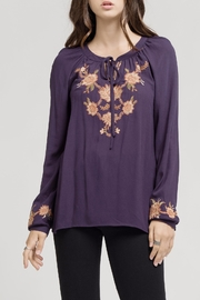 Blu Pepper Embroidered Tie Blouse - Front cropped