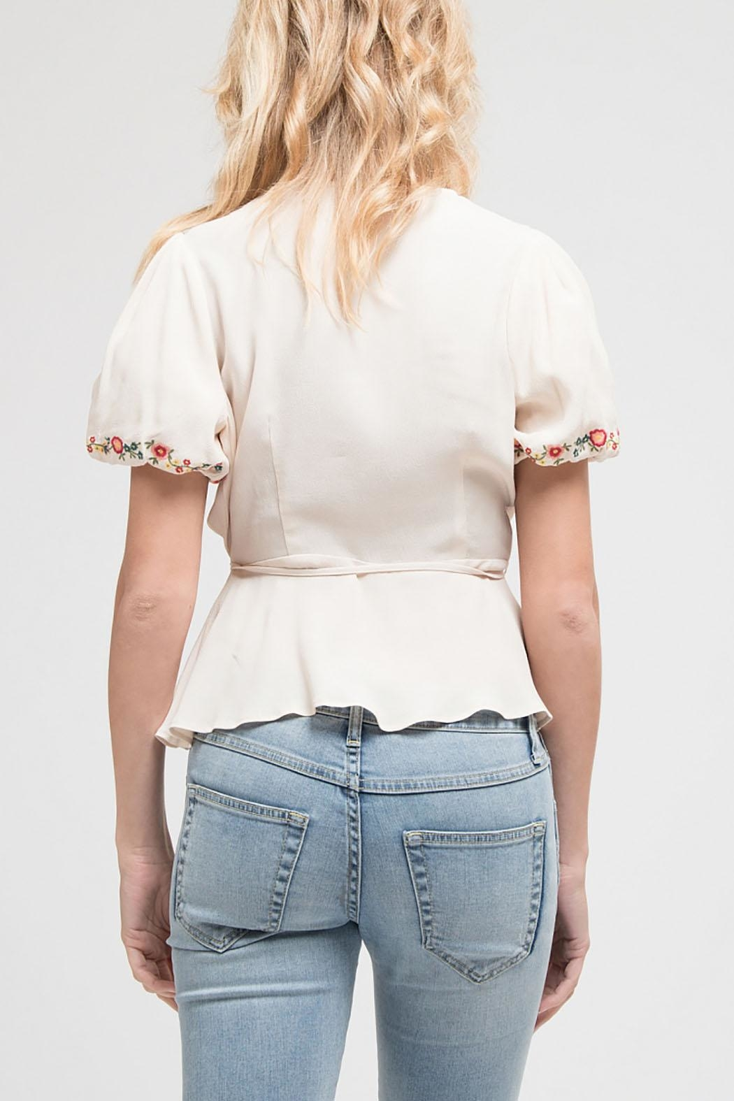 Blu Pepper Embroidered Woven Top - Back Cropped Image