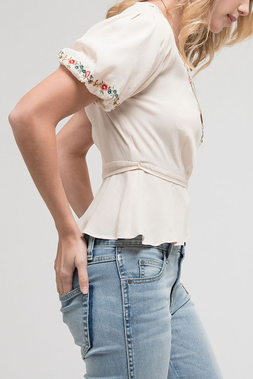 Blu Pepper Embroidered Woven Top - Front Full Image