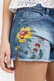 Blu Pepper Floral Embroidered Shorts - Back cropped