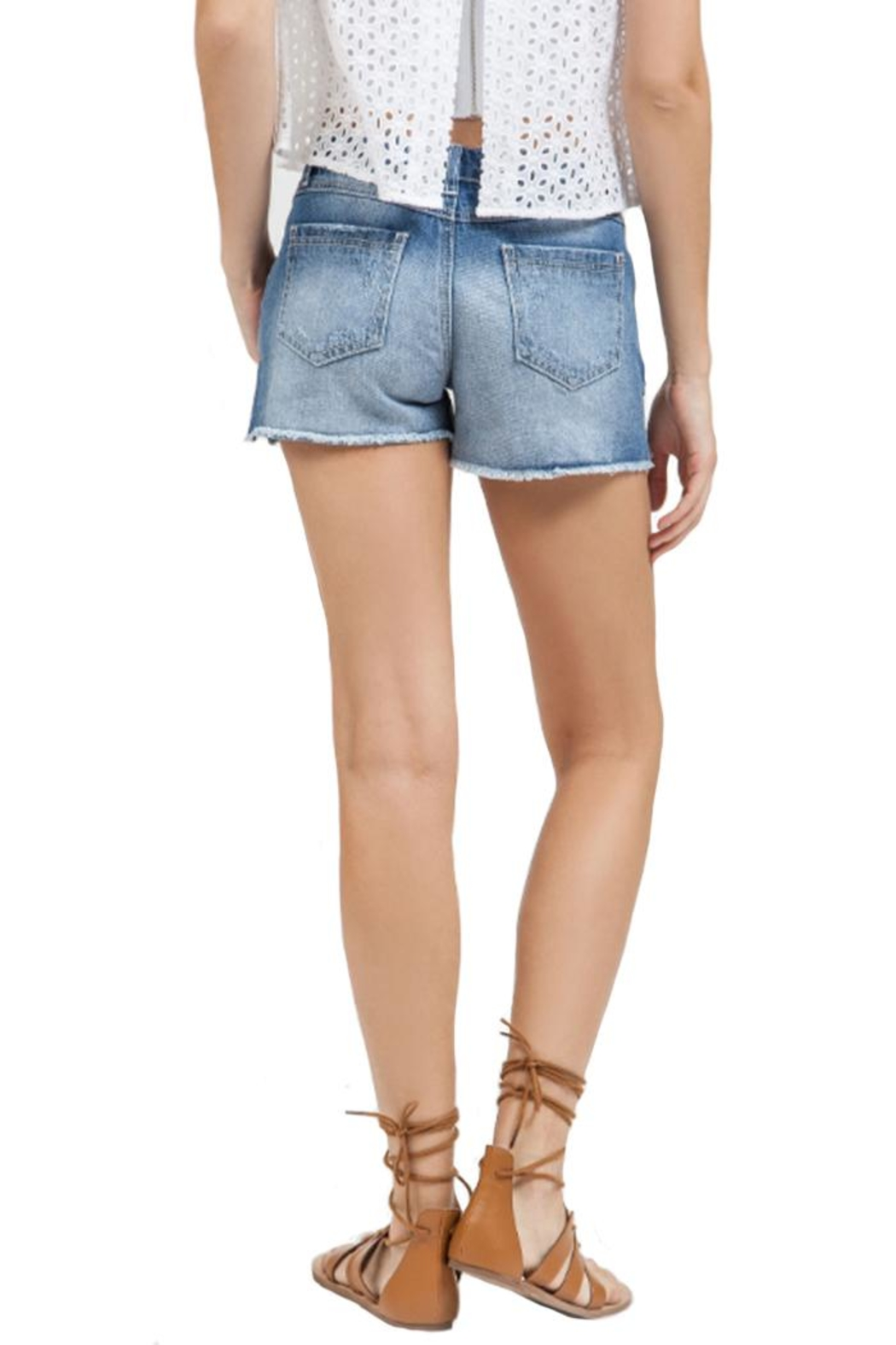 Blu Pepper Floral Embroidered Shorts - Front Full Image