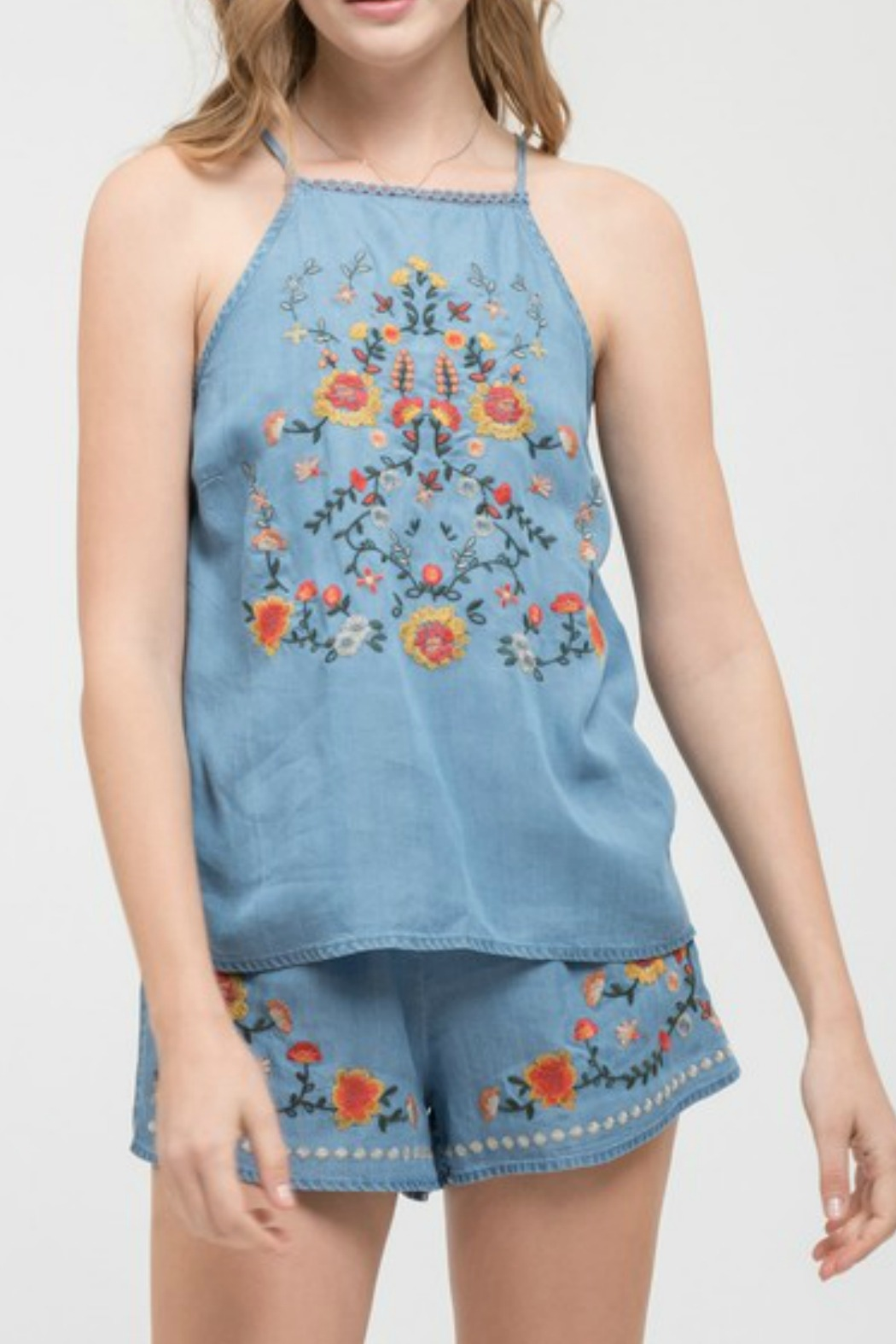 Blu Pepper Floral Embroidered Top - Main Image