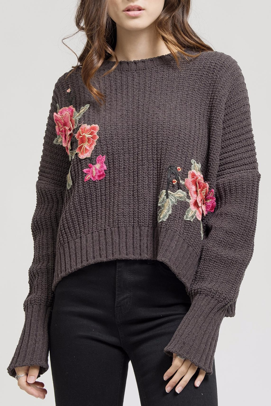 Blu Pepper Floral Embroidery Sweater - Main Image