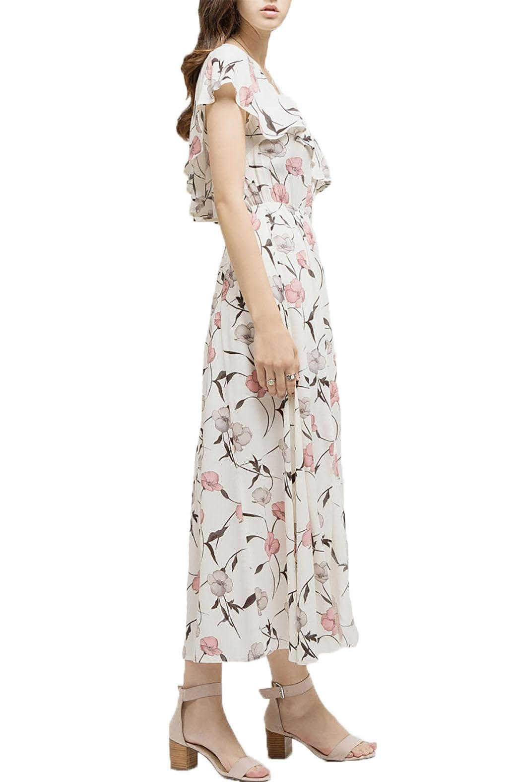 Blu Pepper Floral Ruffled Maxi Dress - Side Cropped Image