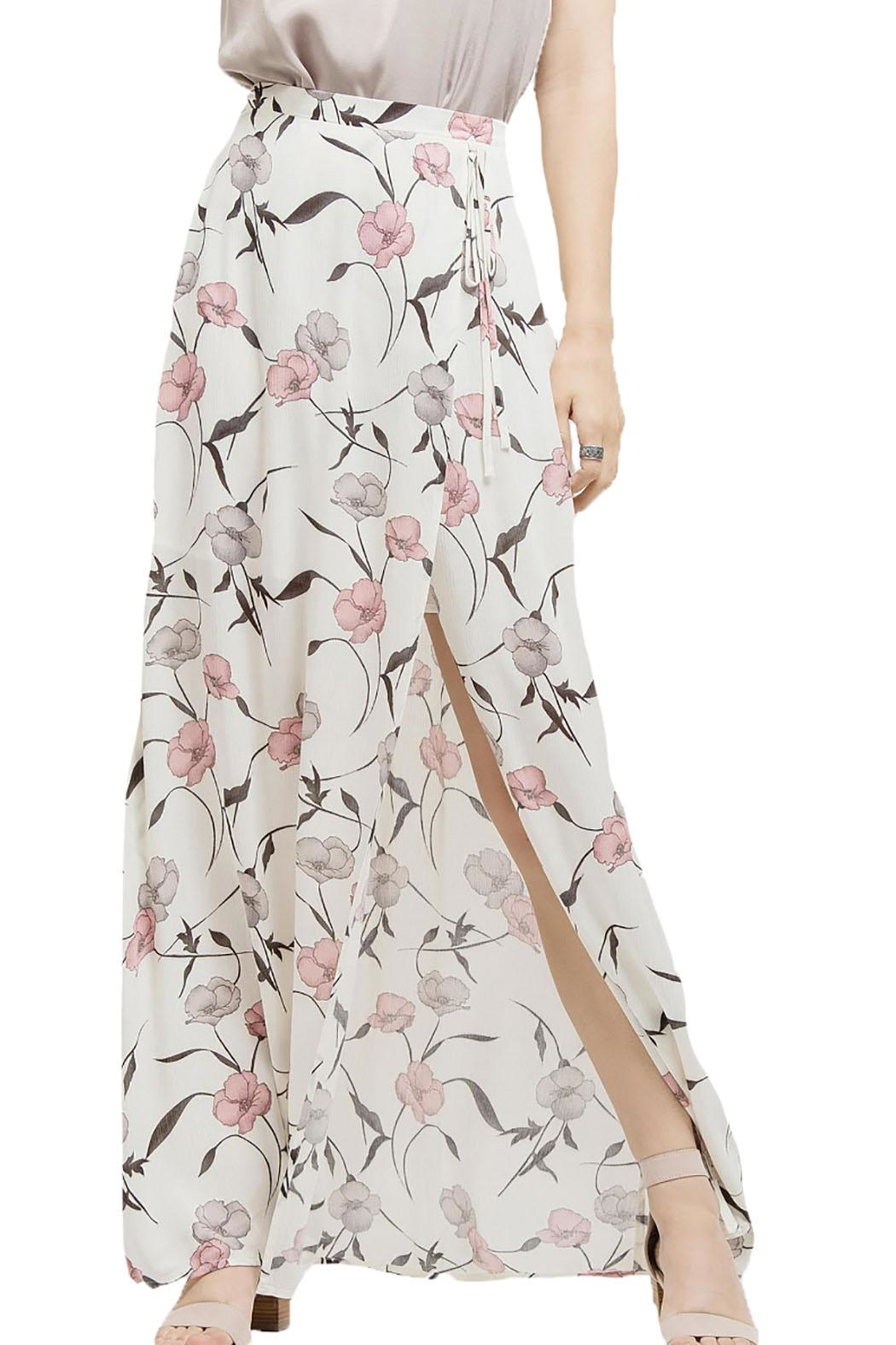 Blu Pepper Floral Maxi Slit Skirt - Main Image