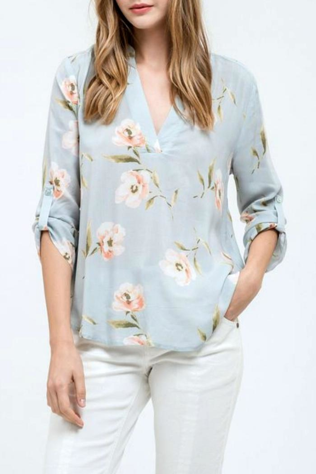 Blu Pepper Floral Print Top - Main Image