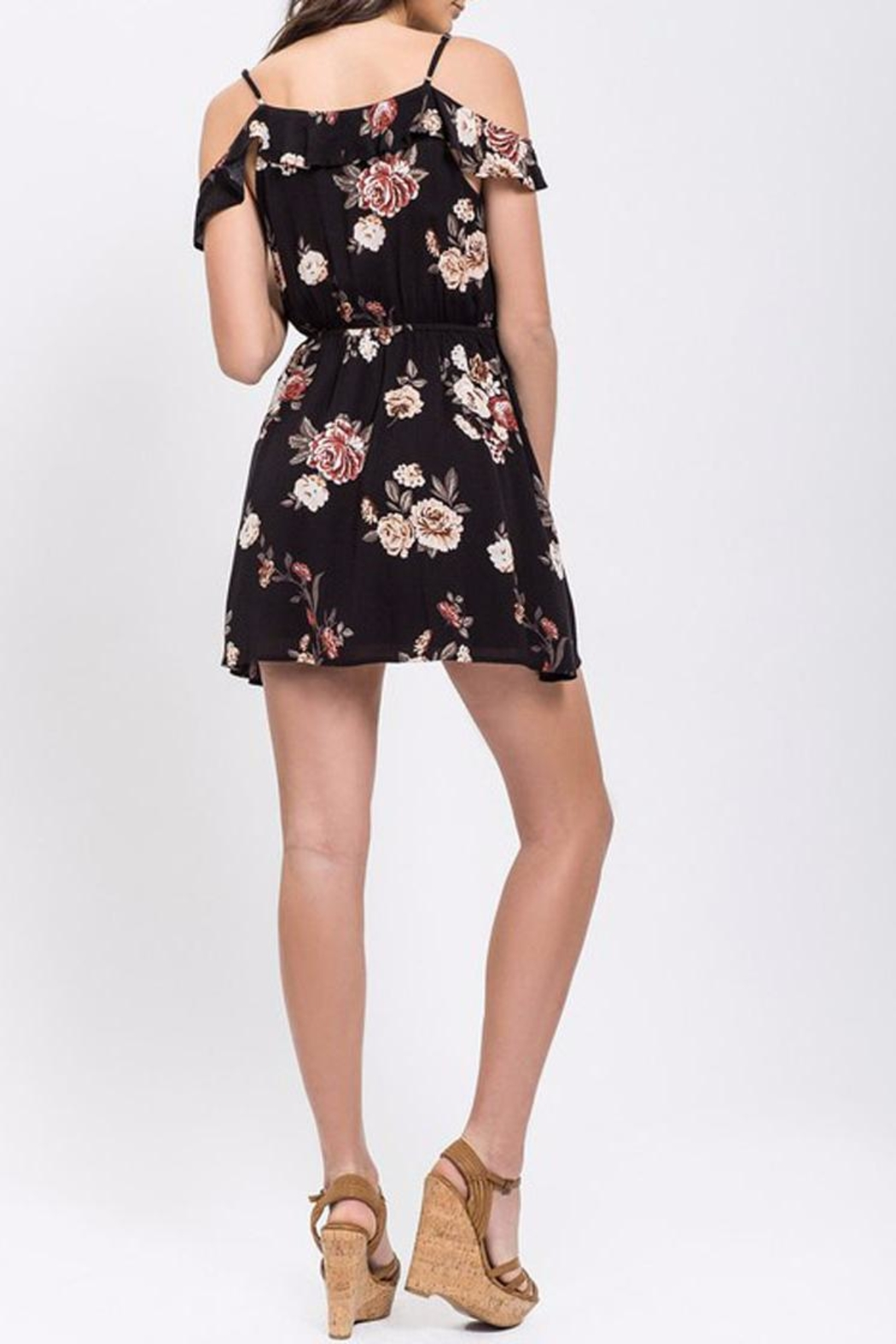 Blu Pepper Floral Ruffle Dress - Front Full Image