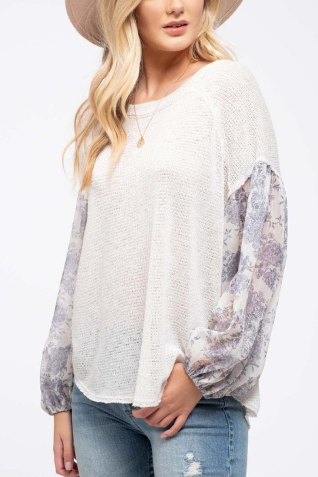 Blu Pepper Floral Sleeve Top - Front Full Image