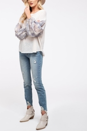 Blu Pepper Floral Sleeve Top - Product Mini Image