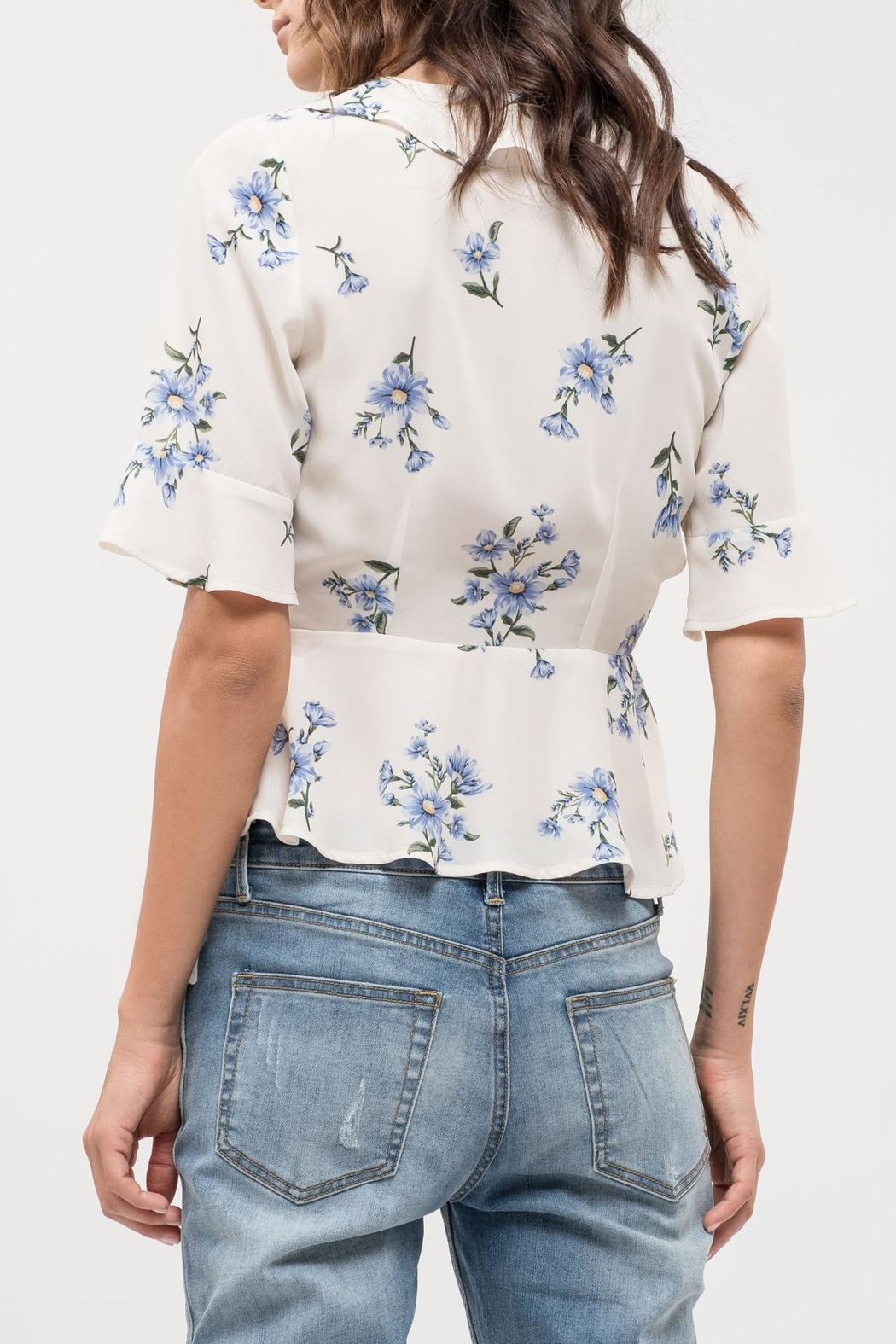 Blu Pepper Floral Wrap Top - Front Full Image