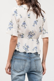 Blu Pepper Floral Wrap Top - Front full body