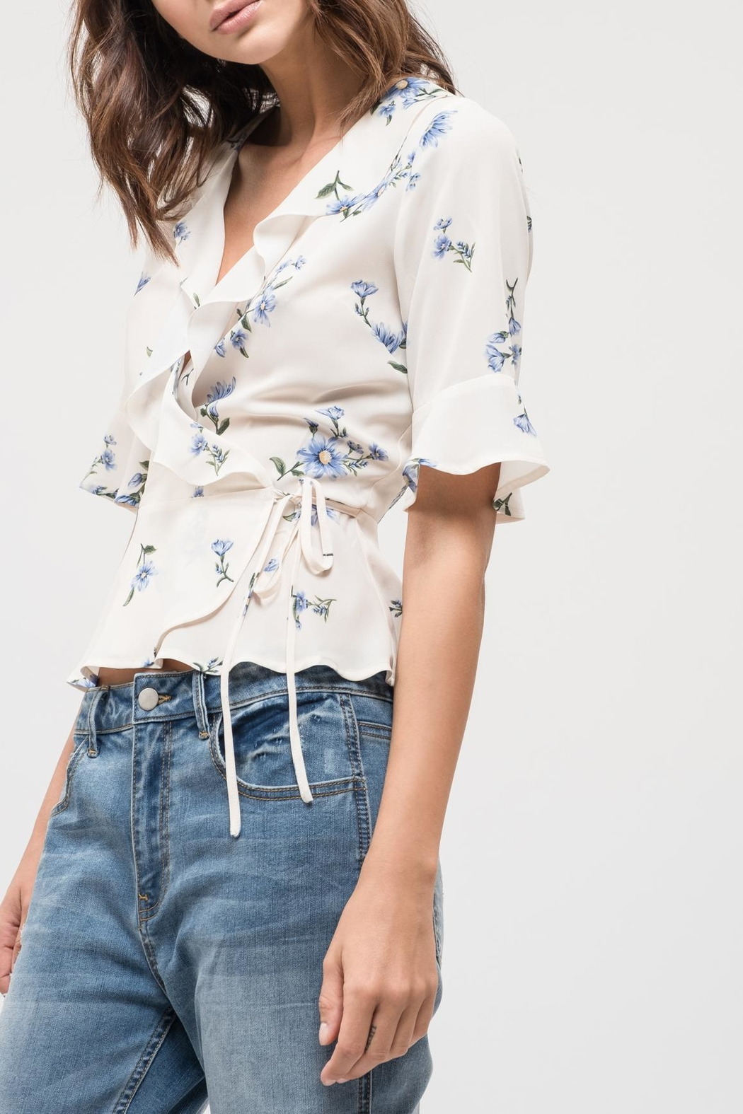Blu Pepper Floral Wrap Top - Side Cropped Image