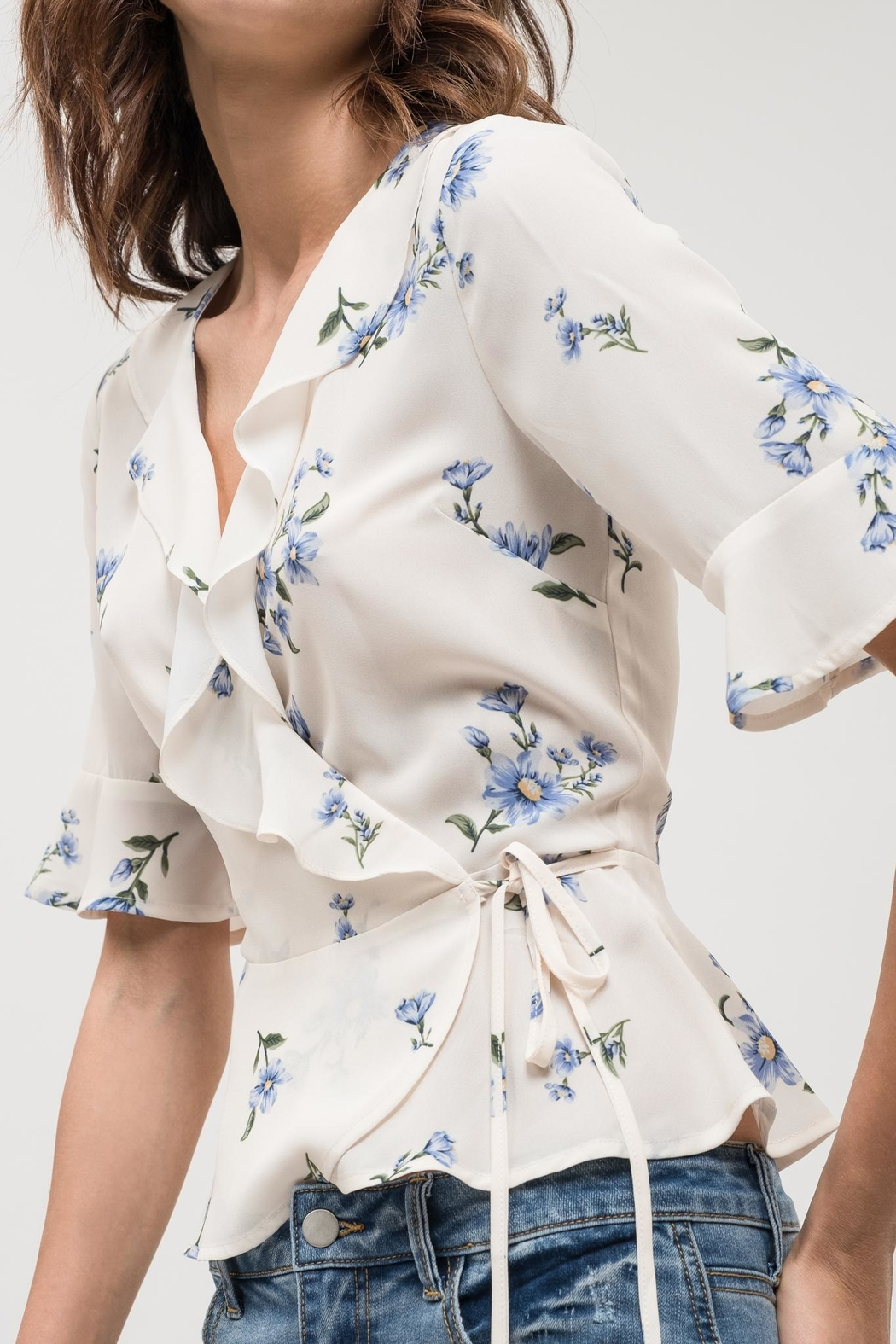 Blu Pepper Floral Wrap Top - Back Cropped Image