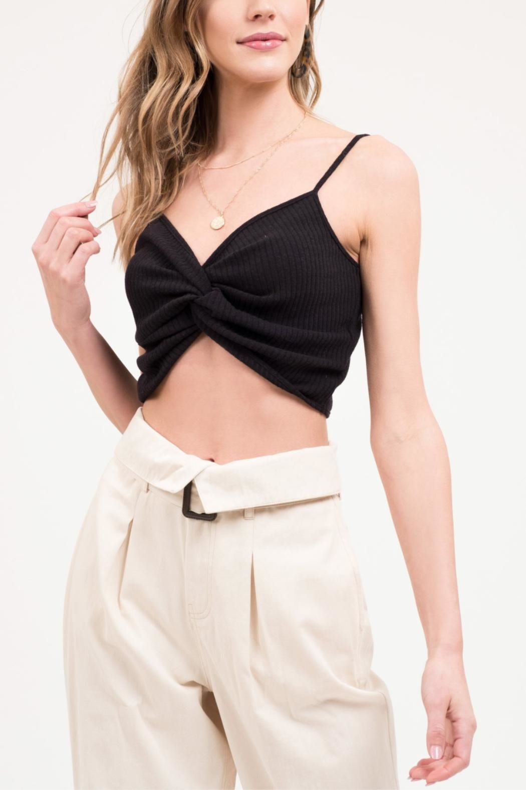 Blu Pepper Front-Twist Cropped Cami - Front Full Image