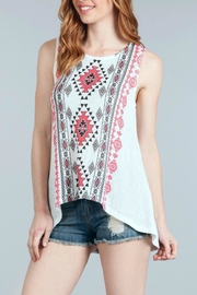 Blu Pepper Geometric Printed Tank - Front cropped