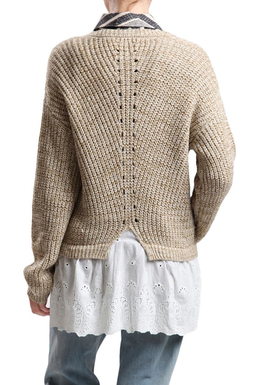 Blu Pepper Lace Bottom Sweater from New Jersey by Making Waves ...