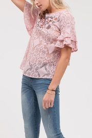 Blu Pepper Lace Embroidered Ruffle - Front full body