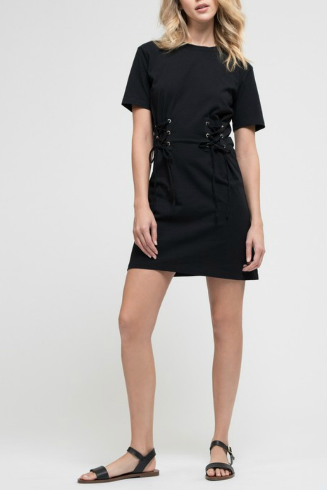 Blu Pepper Lace Up Knit Dress - Front Full Image