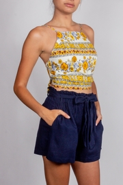 Blu Pepper Navy Tie-Waist Linen-Shorts - Product Mini Image