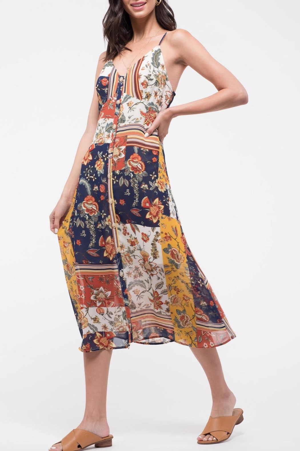 Blu Pepper Patchwork Floral Dress - Front Cropped Image