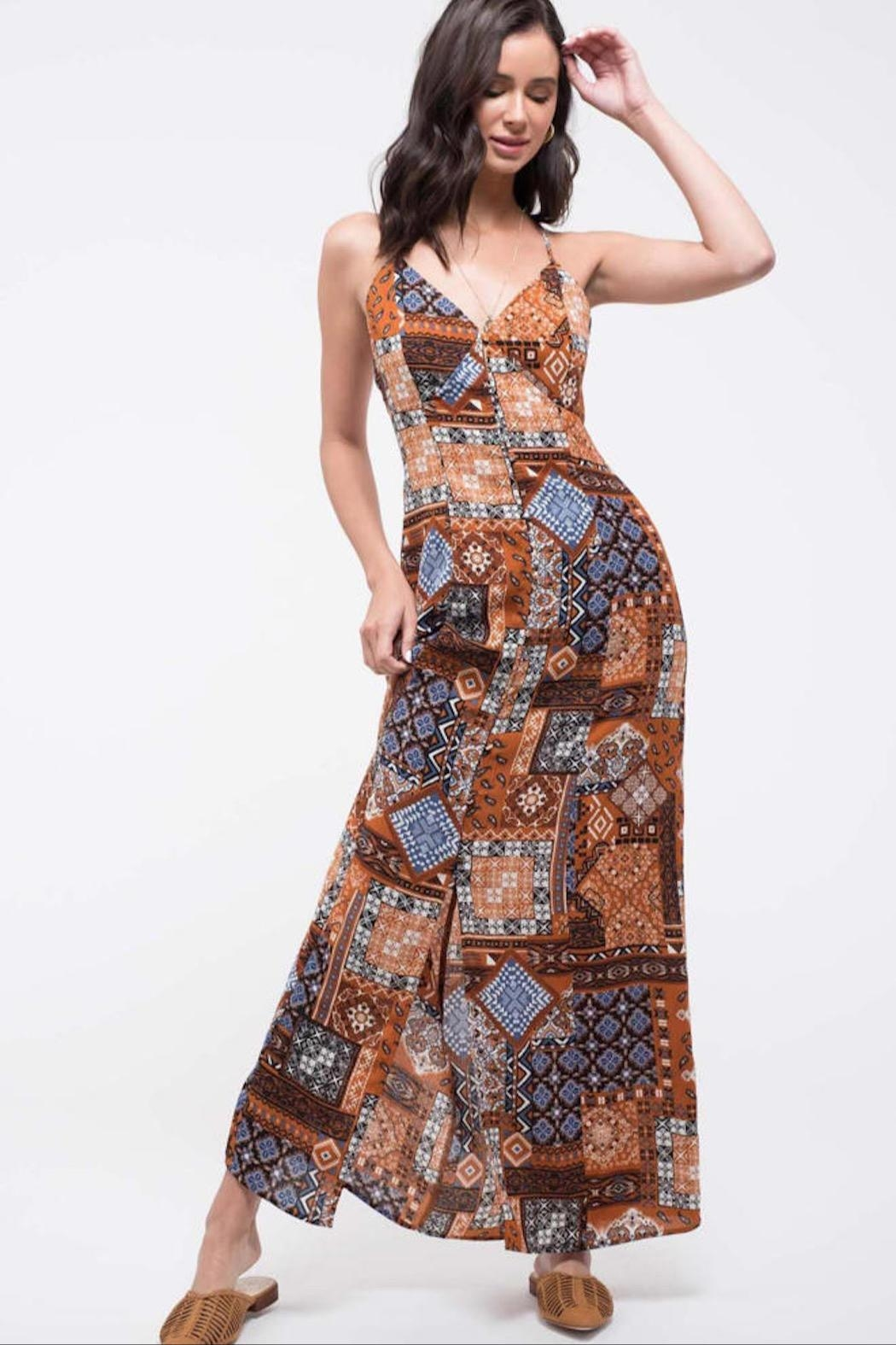 Blu Pepper Patchwork Maxi Dress - Front Cropped Image